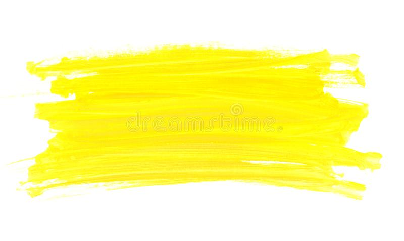 Abstract watercolor yellow paint brush royalty free stock photos