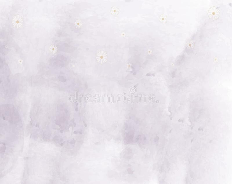 Abstract watercolors purple background with daisy flowers. stock illustration