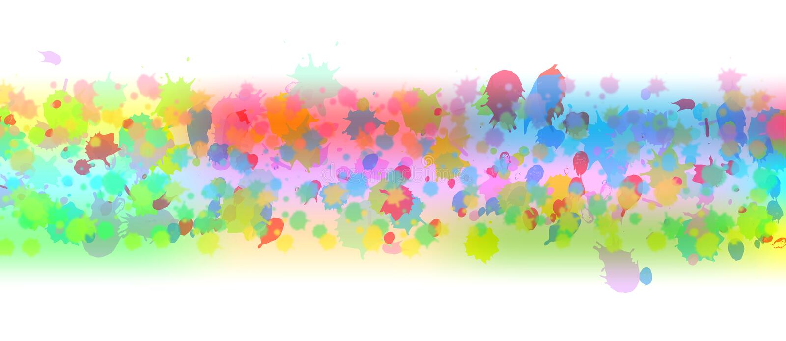 Abstract Vector Colorful Watercolor Spatters Banner stock illustration
