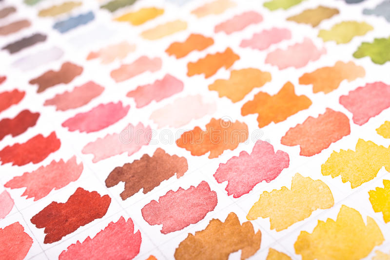 Abstract watercolors in yellow, brown and pink stock photos