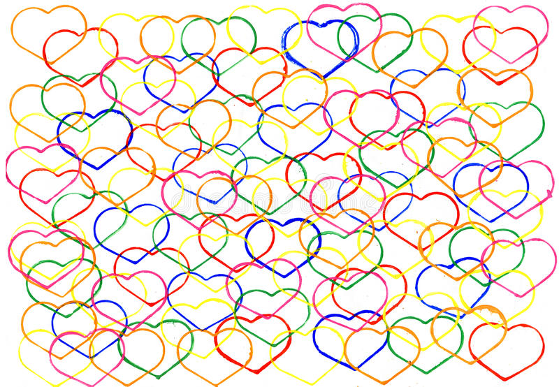 Abstract watercolour background with outlines of hearts. The aut. Abstract watercolour background with outlines of hearts . Decoration design element. Hand drawn stock illustration