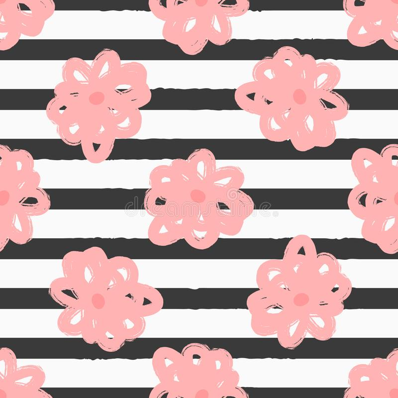 Abstract watercolour flowers on rough striped background. Creative floral seamless pattern. vector illustration