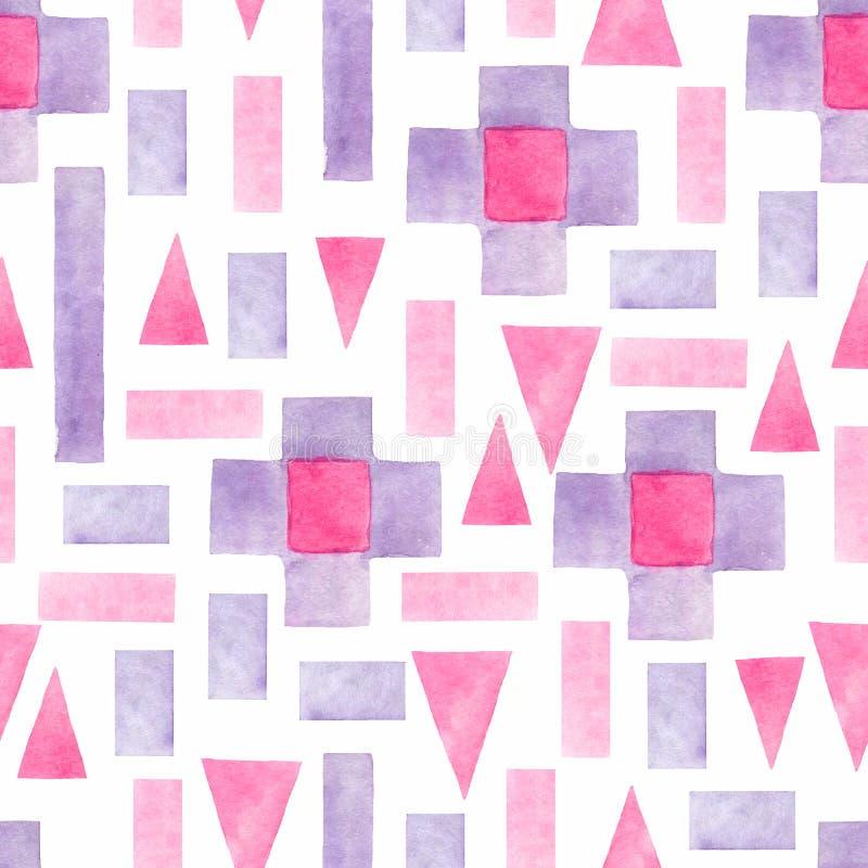 Abstract waterverf geometrisch naadloos patroon Driehoeken met Azteekse ornament, waterverf en grunge texturen geometrisch royalty-vrije illustratie