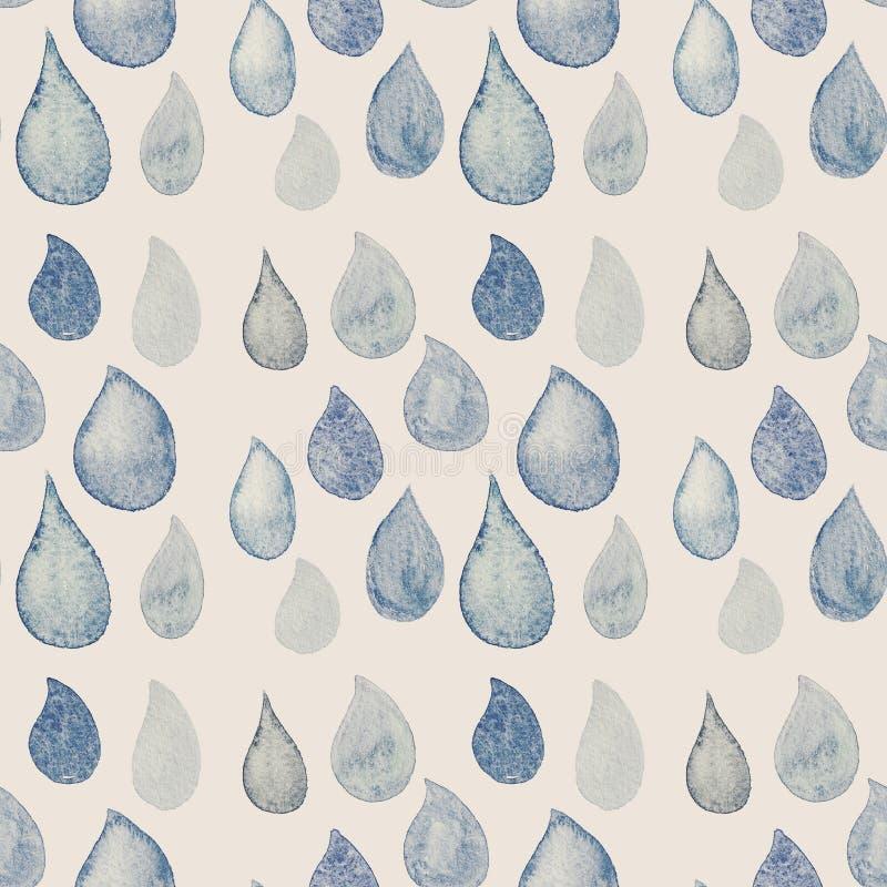 Abstract Waterverf naadloos patroon met het blauw van regendalingen en wh stock illustratie