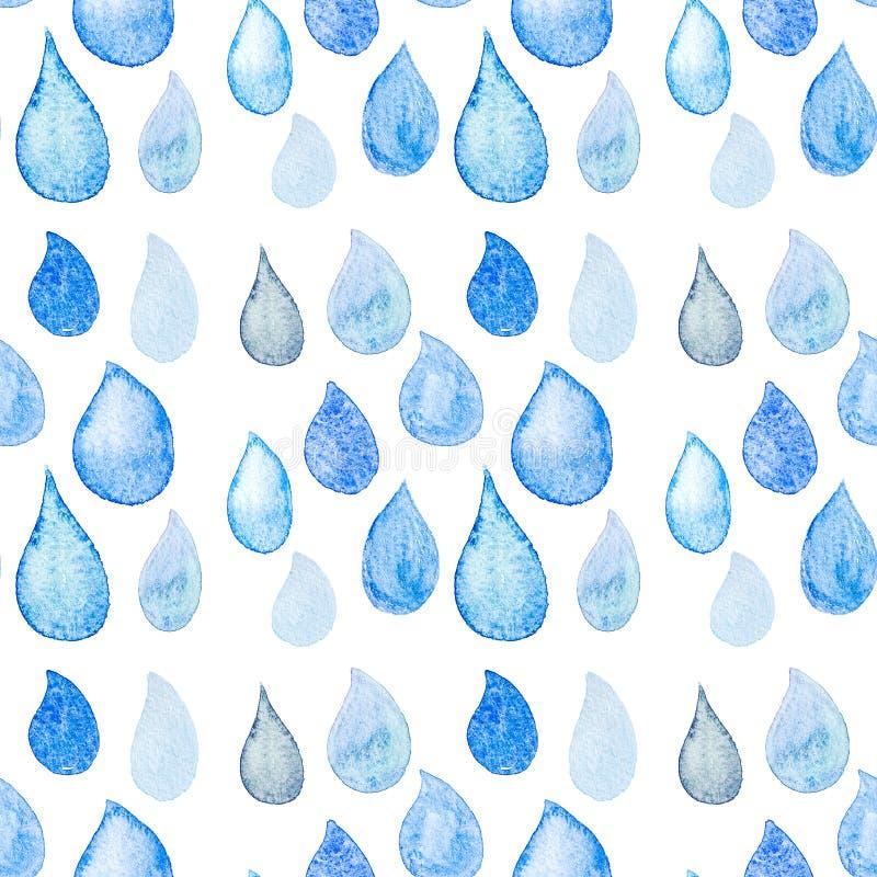 Abstract Waterverf naadloos patroon met het blauw van regendalingen en wh vector illustratie