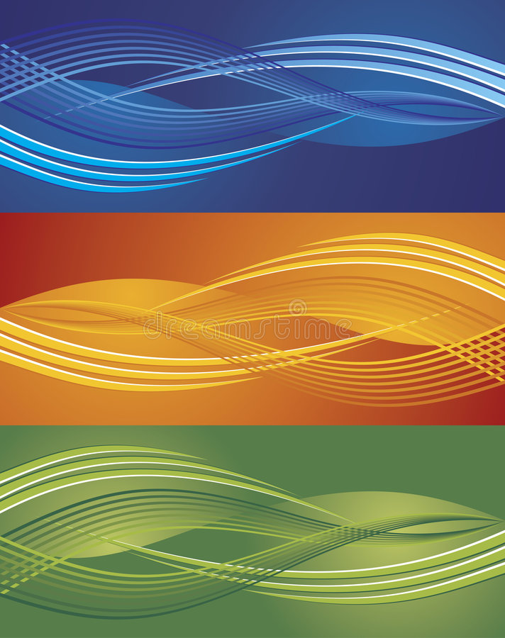 Abstract wave background. Abstract vector modern background set with wavy lines in different color vector illustration