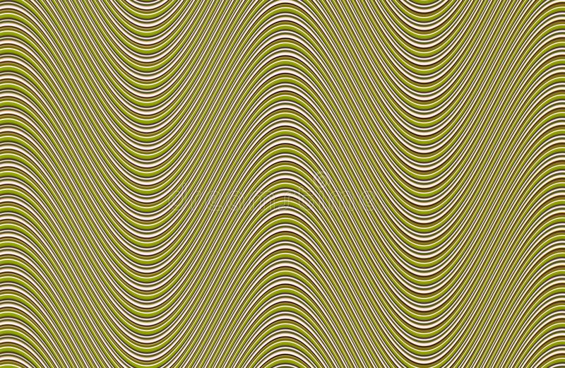 Abstract wave background. wave bend of green white lines horizontally texture golden canvas, volumetric. Effect vector illustration