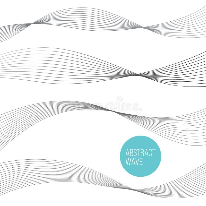 Abstract wave curve element for presentation. Digital frequency track equalizer. Line art background. Vector illustration Set stock illustration