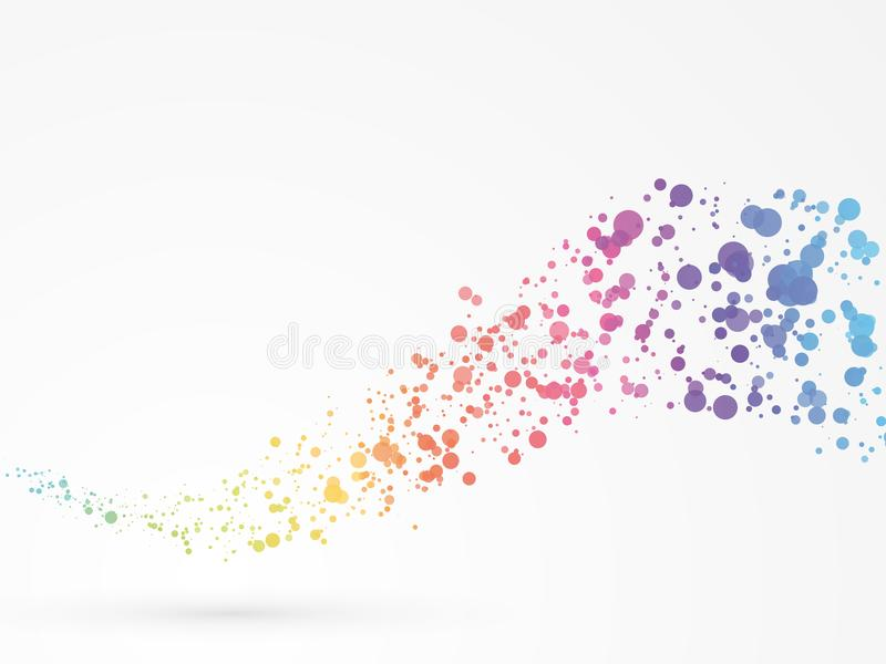 Abstract wave dots background rainbow colors royalty free illustration