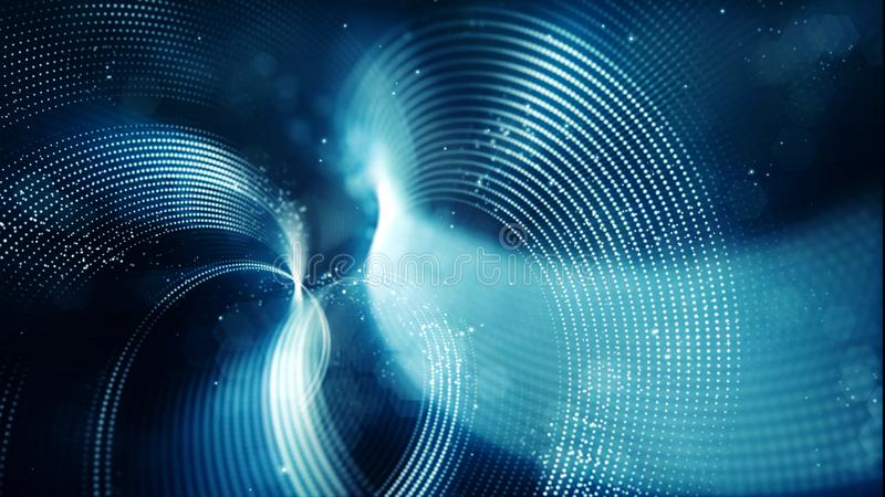 Abstract wave with dots and line blue color background stock illustration