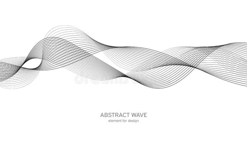 Abstract wave element for design. Digital frequency track equalizer. Stylized line art background. Vector illustration. Wave with lines created using blend stock illustration