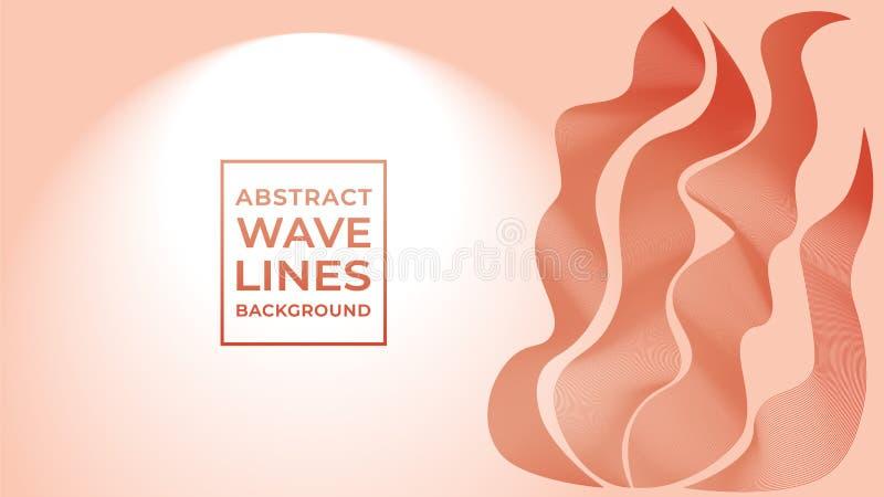 Abstract Wave Line Background Design Vetor, Laranja Vermelho, Laranja Sanguíneo, Outono, Verão, Ouro Escuro ilustração do vetor