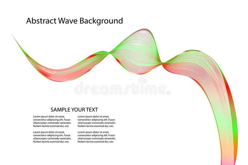 Abstract wave lines wavy pattern colorful for brochure and website design on white background. vector illustration with copy space. Add text stock illustration
