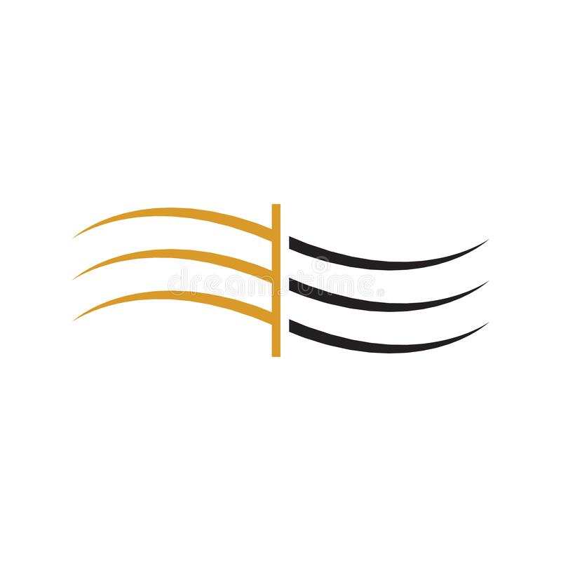 Abstract wave logo cut yellow black stock photo