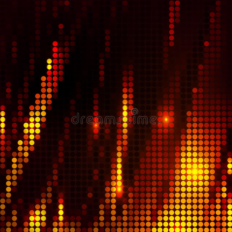 Abstract wave mosaic background red and orange stock illustration