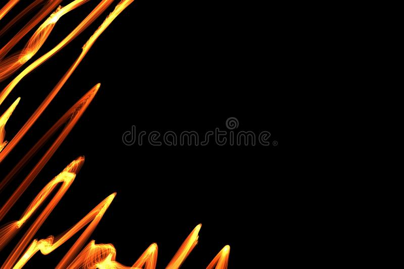 Abstract wave motion of colorful glowing lines on dark background. stock photo