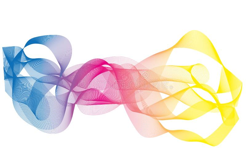 Wave pattern in blue, pink and yellow stock illustration