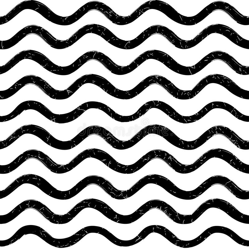 Abstract ocean wave seamless pattern. Wavy line stripe background. royalty free illustration