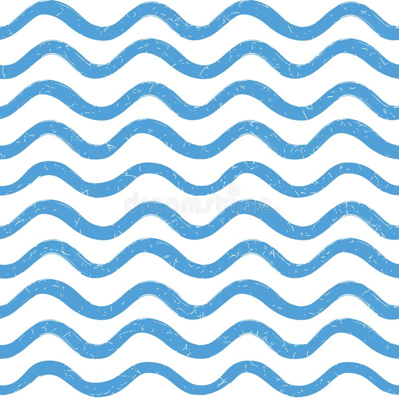 Abstract ocean wave seamless pattern. Wavy line stripe background. royalty free stock images