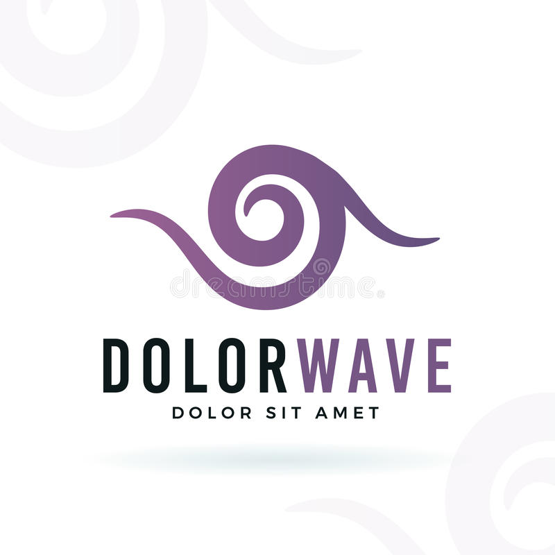 Abstract wave vector design element. Violet curve shape symbol logo concept. stock illustration