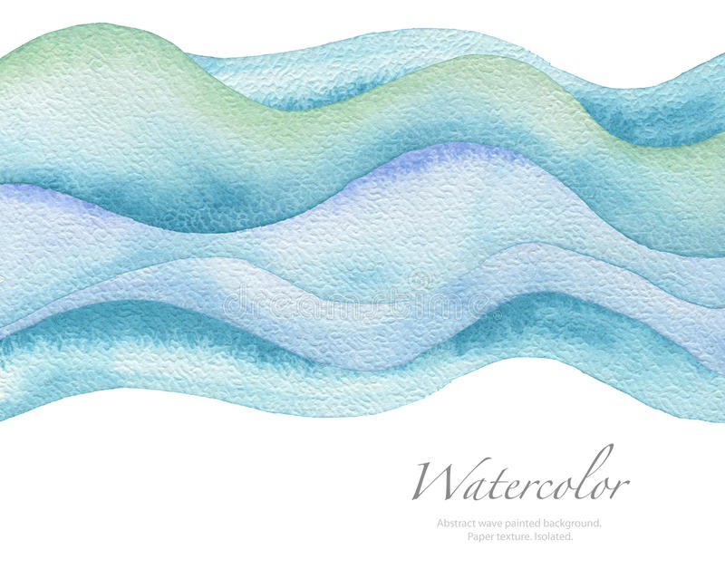 Abstract wave watercolor painted background. Paper texture. Isolated stock image