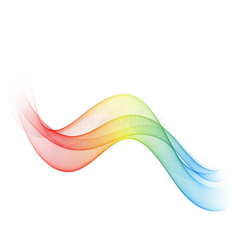 Abstract wave on white background. Vector illustration for curl motion design. Colorful energy smoke layout banner. Cool royalty free illustration