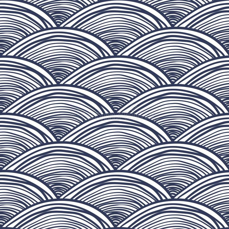Waves background, abstract seamless pattern. Abstract waves background. Black and white seamless pattern. Vector illustration of fish scale in japanese style royalty free illustration