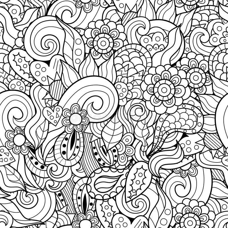 Abstract waves and flowers hand-drawn seamless pattern vector illustration