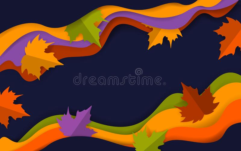 Abstract wavy autumn fall thanksgiving season dark blue orange red green colored banner with paper art style maple tree leaves royalty free illustration