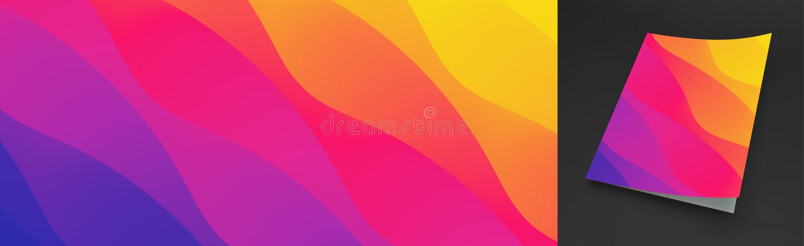 Abstract wavy background with color gradient. Trendy modern design. Applicable for placards, flyers, banners, book covers, stock illustration