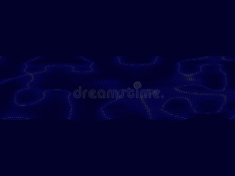 Abstract wavy background.Glowing waves on a dark background.Modern vector techno background royalty free illustration
