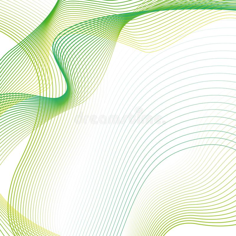 Abstract Wavy background with green linear waves. On a white background stock illustration