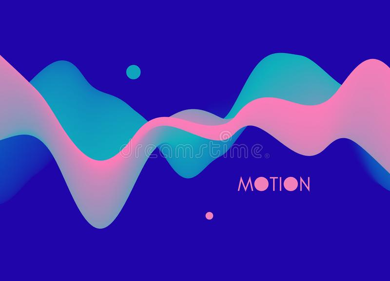 Abstract wavy background with modern gradient colors. Trendy liquid design. Motion sound wave. Vector illustration for banners, vector illustration
