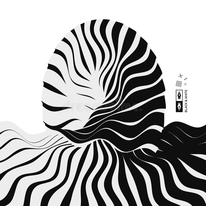 Abstract wavy background. Pattern with optical illusion. Futuristic vector illustration. royalty free illustration