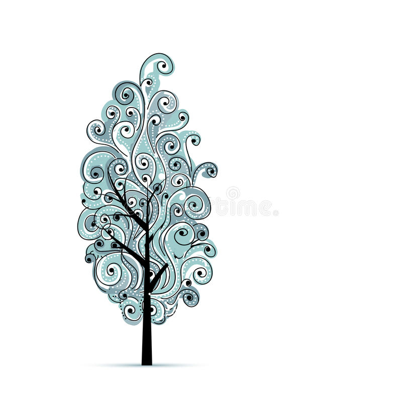 Abstract wavy blue tree for your design stock illustration