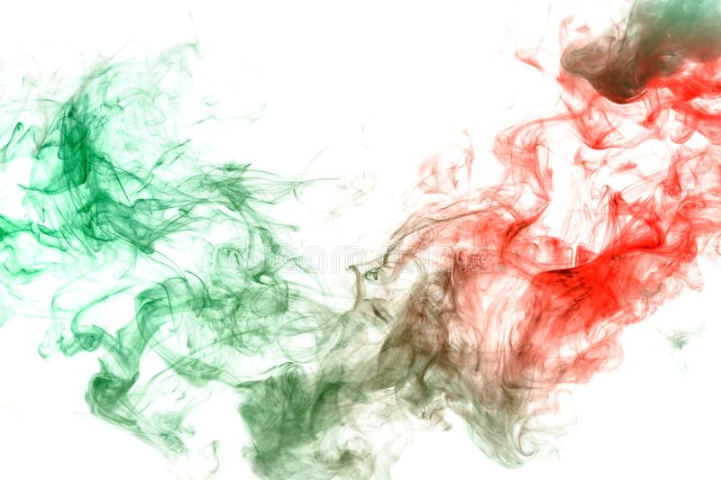 Wavy ink and smoke pattern in green and red on a white background. Print for clothes. Disease and viruses. Abstract wavy ink and smoke pattern in green and red stock image