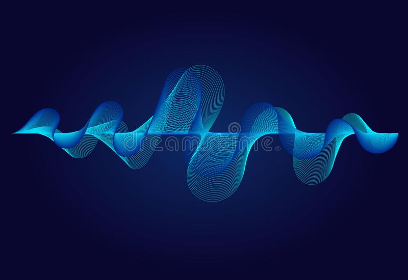 Abstract  wavy lines  surface on dark blue background. Soundwave of gradient lines. Modern digital frequency equalizer vector illustration