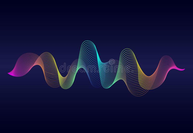 Abstract  wavy lines surface with rainbow color on dark blue background. Soundwave of gradient lines.Vector digital frequency royalty free illustration