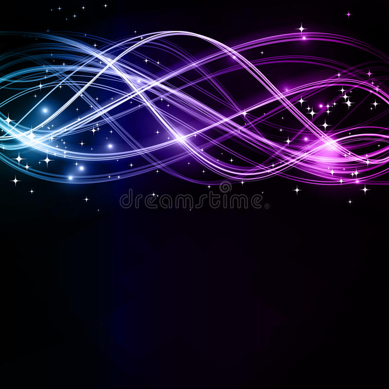 Abstract wavy patterns with stars stock illustration