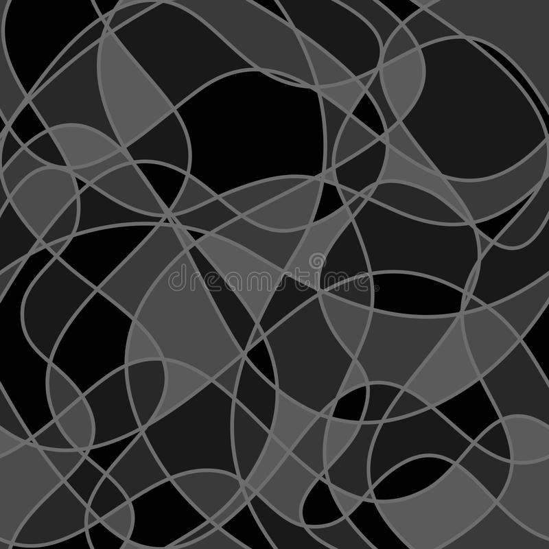 Abstract wavy shapes. vector seamless pattern. dark background. royalty free illustration