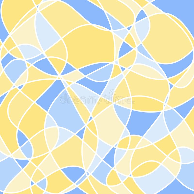 Abstract wavy shapes. vector seamless pattern. yellow and blue royalty free illustration