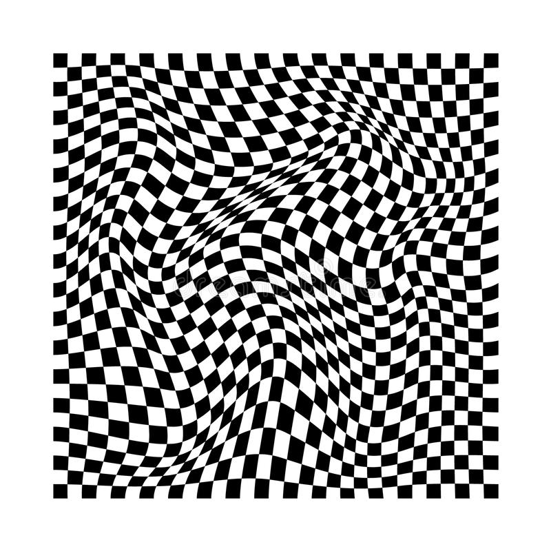 Abstract wavy twisted distorted squares checkered black and white texture vector illustration