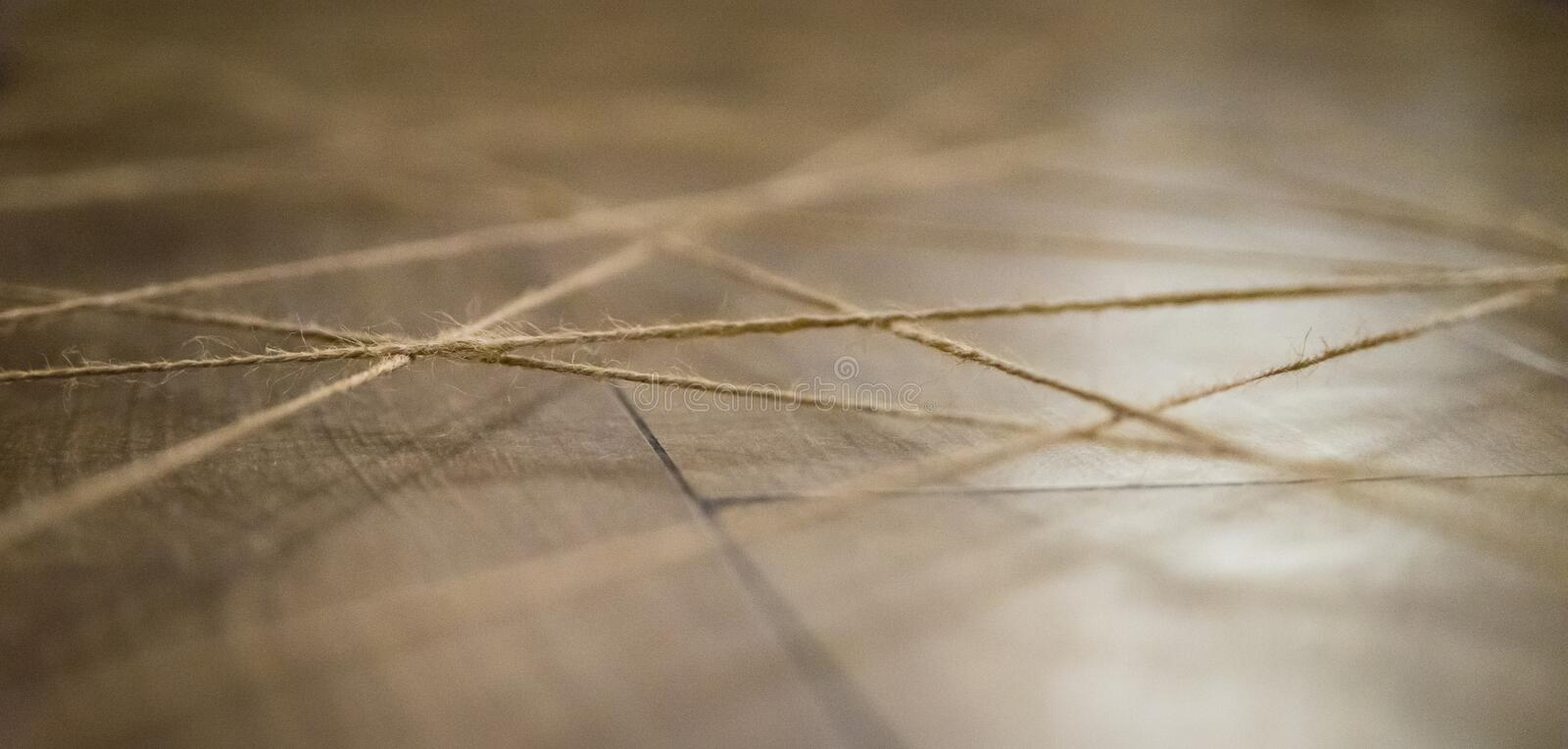 Abstract web background made of rope. Selective focus.  royalty free stock photography