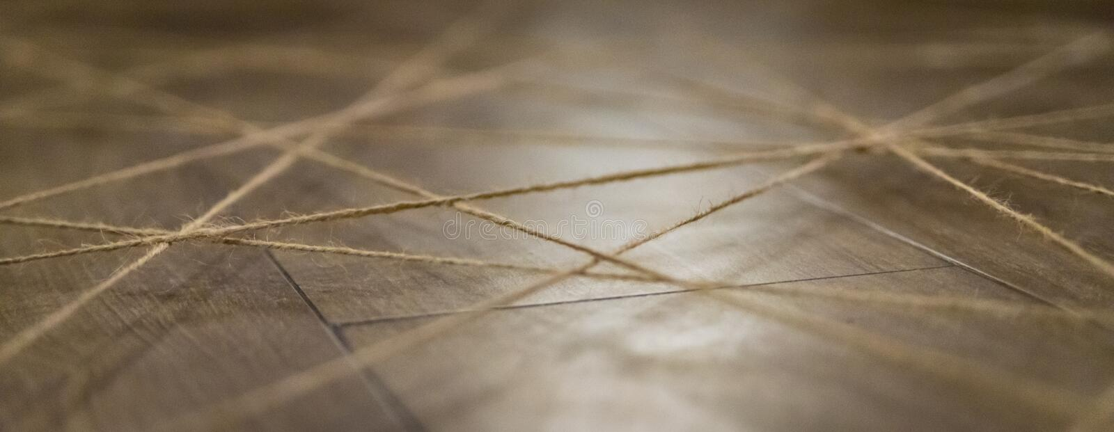 Abstract web background made of rope. Selective focus.  stock photography