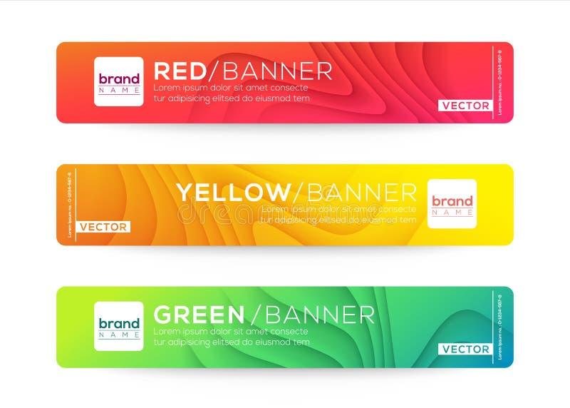 Abstract webbanner of header-ontwerpsjablonen De gebogen achtergrond van de golfgradiënt met kleurrijke levendige kleuren royalty-vrije illustratie