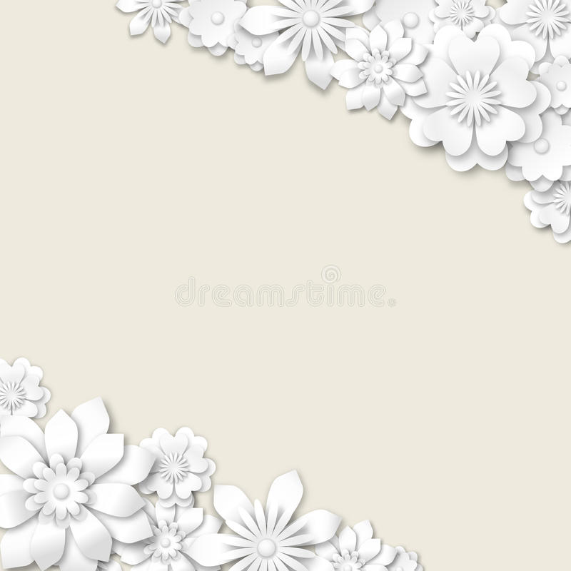 Abstract wedding background with white 3d flowers stock illustration