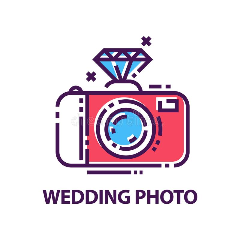 Abstract wedding photography logo template. Creative emblem with photo camera and diamond. Flat vector. Abstract wedding photography logo template. Creative vector illustration