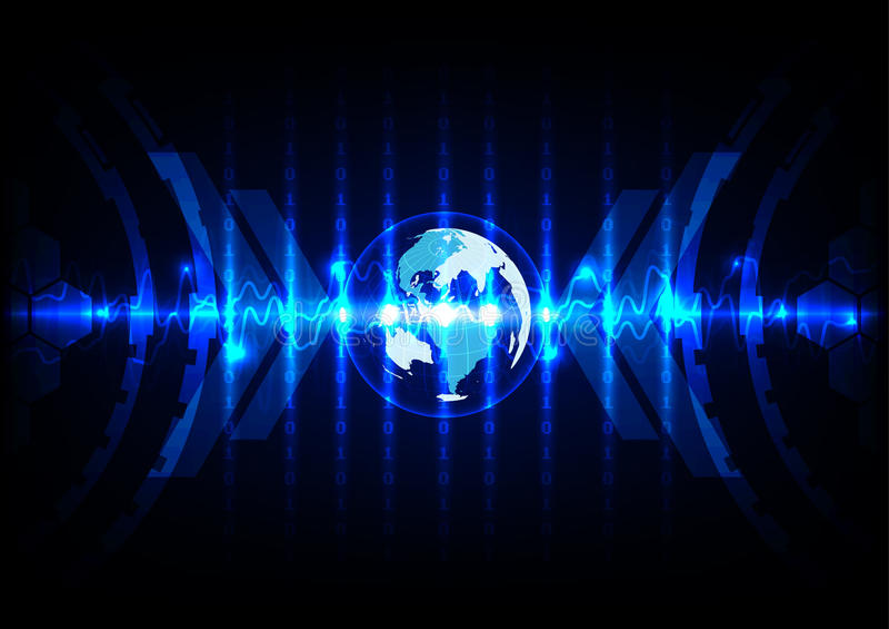 Abstract wereldblauw met de achtergrond van de binaire codetechnologie ziek vector illustratie