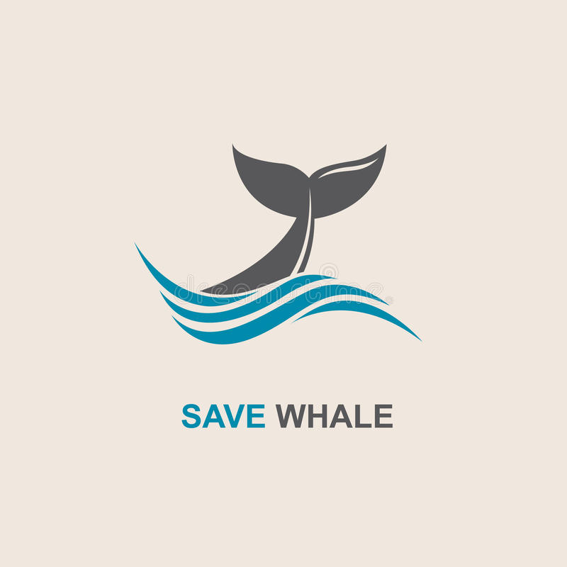Abstract whale icon. Design with abstract symbol of whale and sea wave royalty free illustration