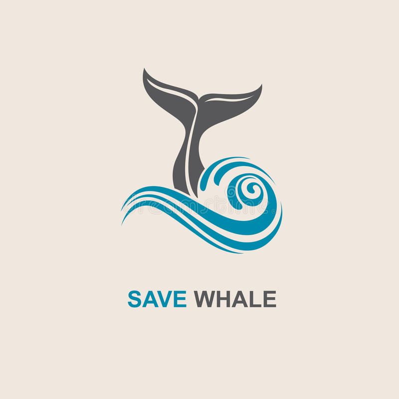 Abstract whale icon. Design with abstract symbol of whale and sea wave stock illustration